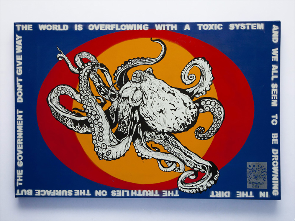 Octopus H600mm x W900mm Spray and Acrylic on Canvas