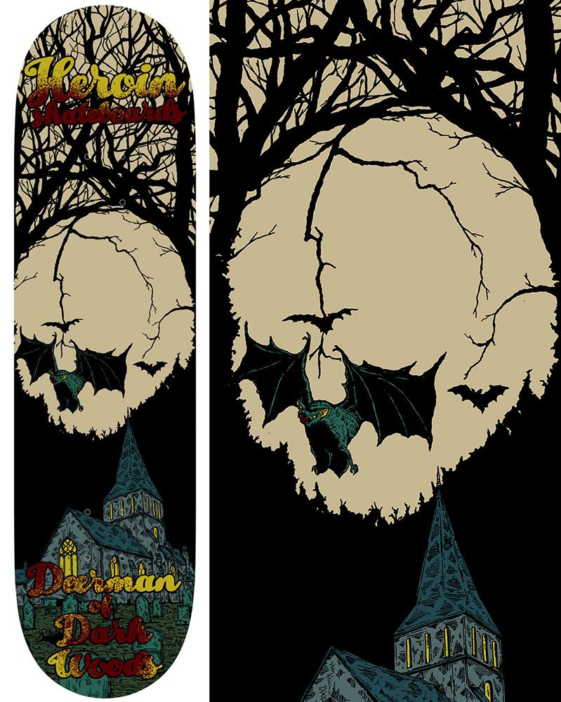 Heroin Skateboards Illusion Series Deer Man of Dark Woods Model